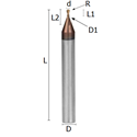 Picture of Miniature ball nosed end mill reinforced solid carbide coated