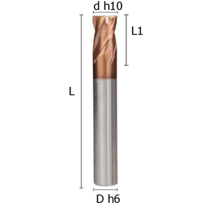 Picture of Four flutes regular end mill coated