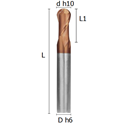 Picture of Ball-nosed two flutes regular end mill coated