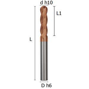 Picture of Ball-nosed four flutes long end mill coated