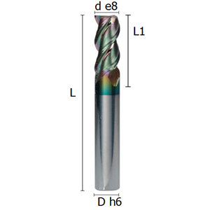 Picture of Three flutes end mill with irregular division lapped and coated