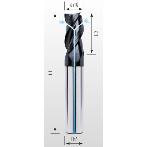 Picture of Three flute end mill with irregular division lapped and coated with coolant holes